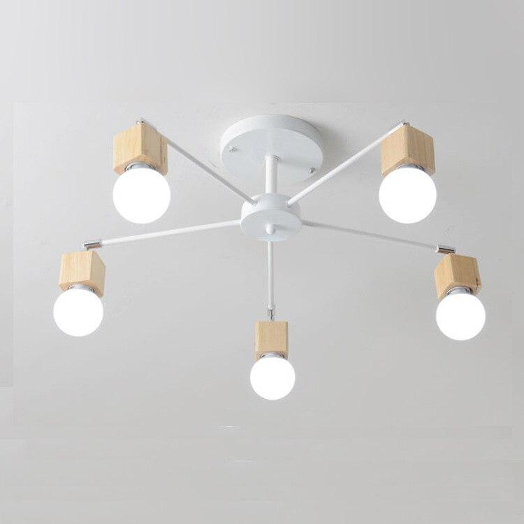 Modern E27 LED Ceiling Light Iron Wood Ceiling Lamp Lighting Fixture for Bedroom Dining Room Sitting Room