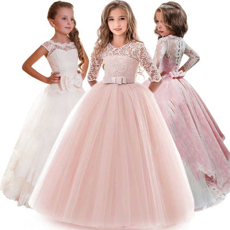 4448b8f6cc4 Kids Bridesmaid Flower Girls Dresses For Party and Wedding Dress Girls  Easter Costume Children Pageant Gown