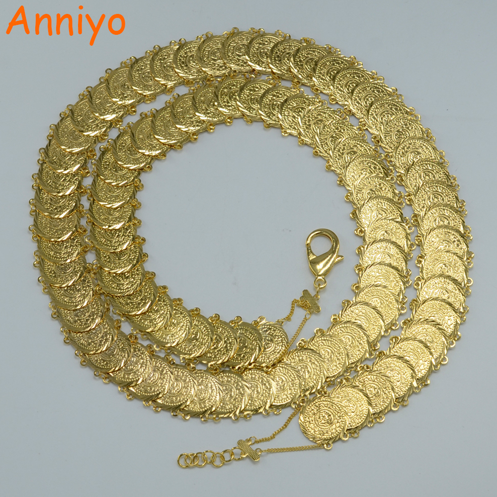Anniyo 112CM/Coin Long Belt for Women Gold Color Jewelry Arab Wedding Bride Belly Chains Islam Middle East/Turkey/Egypt #044106 anniyo wholesale coin bracelet for women arab chain middle eastern gift gold color coins jewelry middle eastern wedding 048006