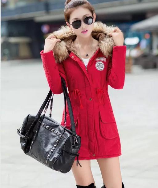 Women   basic     jacket   2019 Thickening Warm Winter Fur Collar   Jackets   Women's Long Outerwear Coats Winter   basic     Jacket   coat 9863