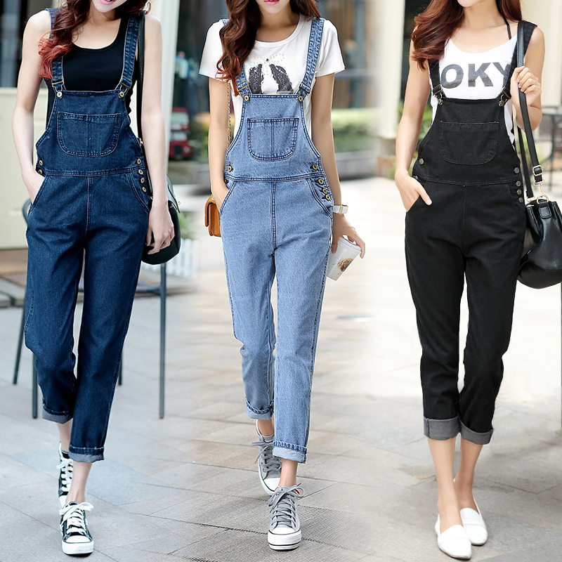 a20310d60877 summer style Loose casual girls denim bib pants spring and summer trousers  plus size spaghetti strap jumpsuit