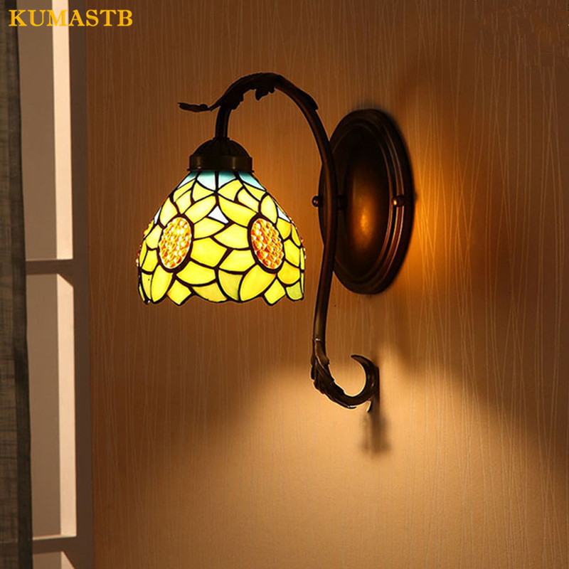 European Stained Glass Sunflower Wall Lamp Pastoral Warm Mirror Lamp Bedroom Bedside Lamp Aisle Stairs Bathroom Light KUMASTB
