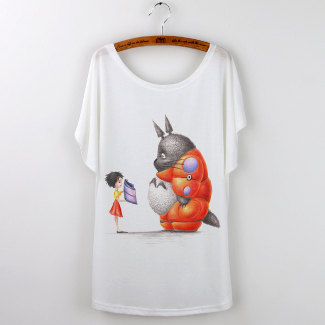 Totoro Graphic Loose Print Tee Shirt