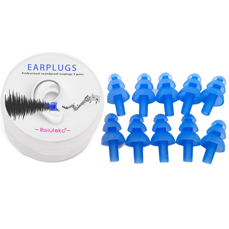 10 Pcs Silicone Sound Insulation Earplugs Anti Snoring Travel Sleeping Noise Reduction Ear Plugs Swimming Protective Earmuffs