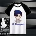 Envío del Mens Short de Algodón Bigbang Camiseta Adolescentes G Dragón Camisa de Tes Superior