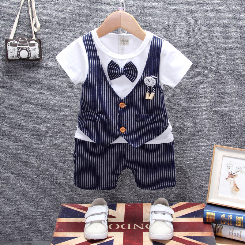 Summer Spring Fashion infant clothing Stripe Baby Suit Baby Boys Clothes Gentleman Bow Tie Rompers + Vest + pants Baby Set