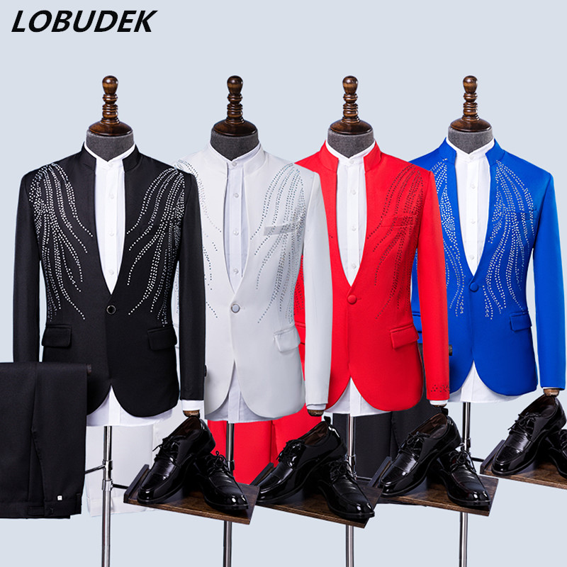 Grownup Formal Males's Fits Black Crimson White Blue Stones Blazers Crystals Jacket Marriage ceremony Clothes Choral Costume Host Singer Costumes Fits, Low-cost Fits, Grownup Formal Males's Fits Black Crimson...
