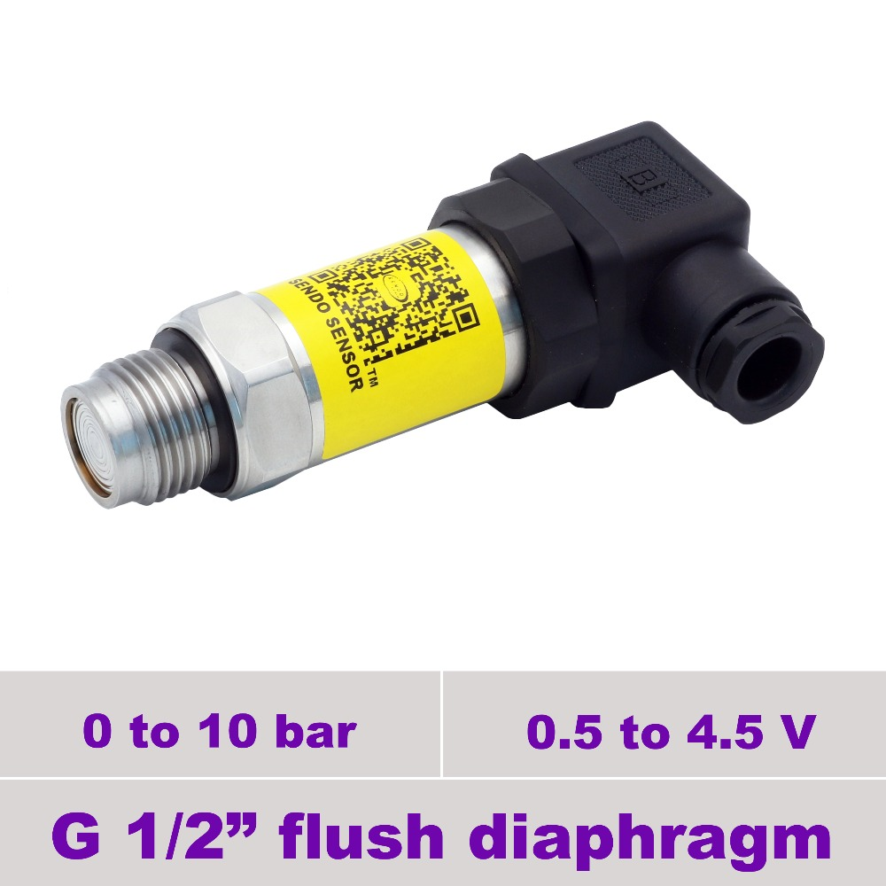 flush face pressure sensor, power 5V DC, 0.5-4.5V, 0 to 10bar, 150 psi, G1 2, high accuracy, stainless steel 316L diaphragm flush pressure sensor transmitter 0 5 4 5v 250bar 25mpa gauge g1 2 0 5% accuracy stainless steel 316l diaphragm low cost