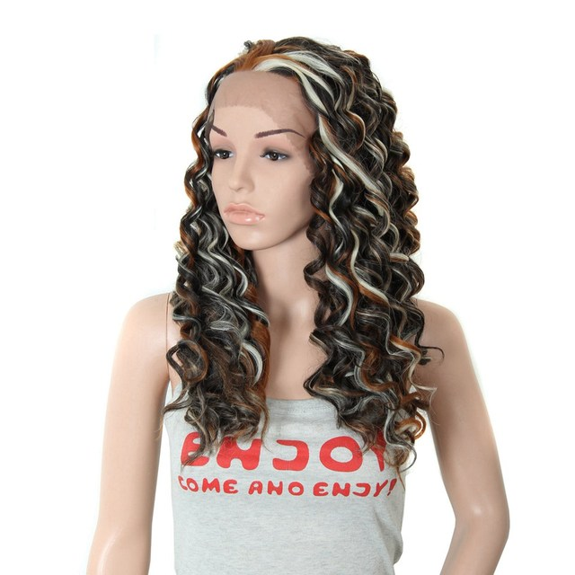 26cheap front lace wig with blonde highlights synthetic long 26cheap front lace wig with blonde highlights synthetic long curly hair wigs african american pmusecretfo Image collections