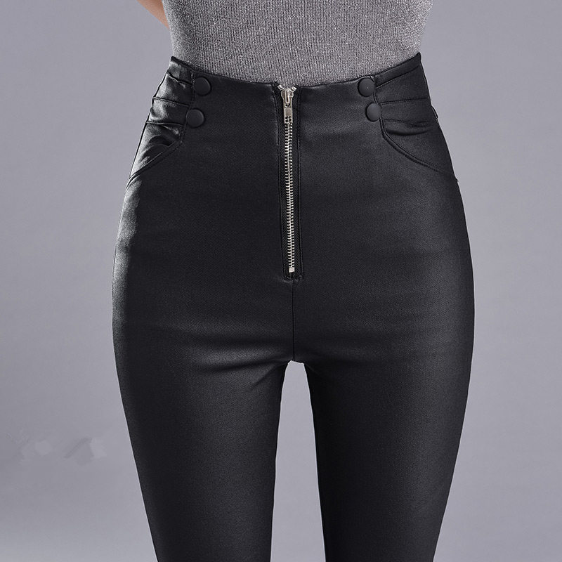 Autumn Winter Skinny High Waist Leather Leggings Women Slim Plus Velvet PU Leather Pencil Pants Sexy Long Black Leggings C4889