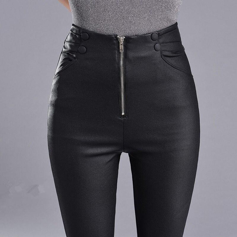 Autumn Winter Skinny High Waist Leather   Leggings   Women Slim Plus Velvet PU Leather Pencil Pants Sexy Long Black   Leggings   C4889