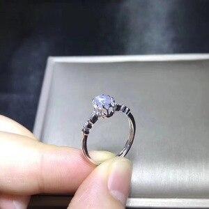 Image 4 - Naturale blu pietra di luna anello, stile semplice, di promozione negozio, 925 dargento, trasporto libero, stile popolare