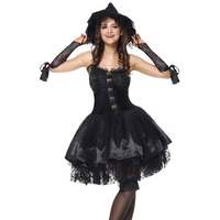 Black Victorian Halloween Costumes For Women Sexy Witch Costume Adult Cosplay Gothic Lolita Fancy Dress Magic Demon Evil Outfit