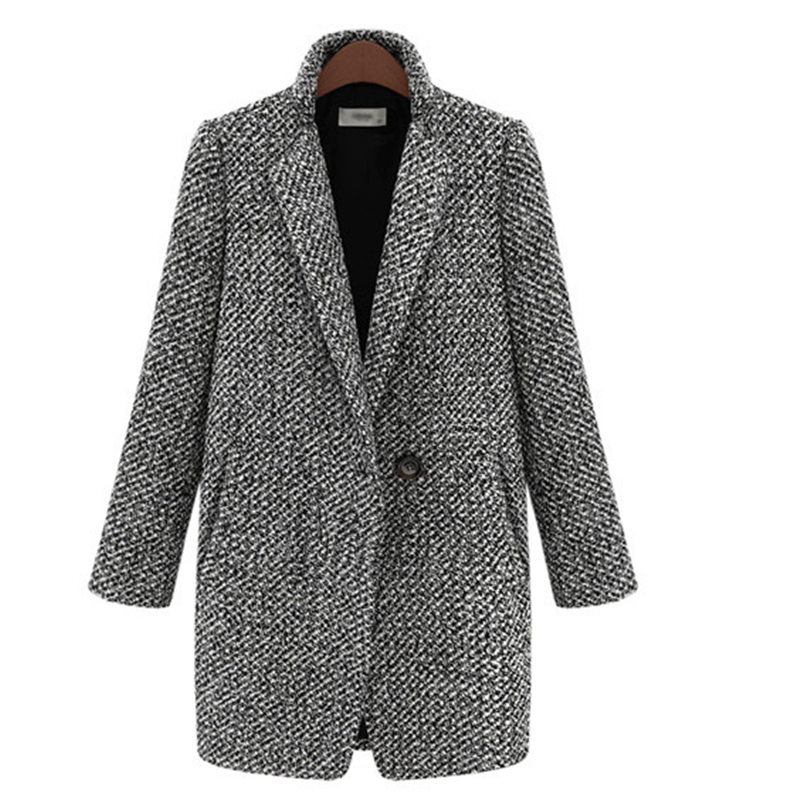 Winter Coat Women Houndstooth Woolen Coat Fashion Cotton Blend Single Button Pocket Oversize Trench Coat Outerwear Femme