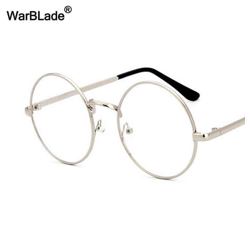 diferentemente 7e975 36ddd WarBLade Vintage gafas redondas lentes transparentes moda oro redondo Metal  marco gafas ópticas hombres mujeres gafas marco gafas falsas