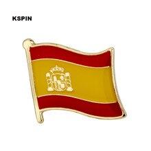 Espanha metal bandeira lapela pino emblemas para roupas rozet conjunto broche em broches KS-0190