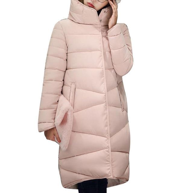 2017 Зимние Новая Мода Длинное Пальто Тонкий Утолщенной Водолазка Теплая Куртка Хлопка Мягкий Молния Плюс Размер Пиджаки Casacos 4 Цветов