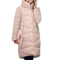 2016 Winter New Fashion Long Coat Slim Thickened Turtleneck Warm Jacket Cotton Padded Zipper Plus Size