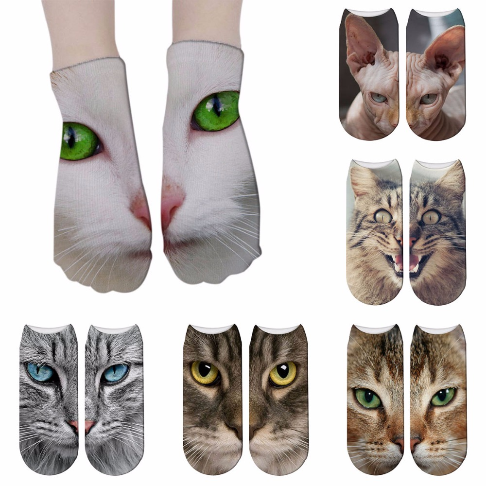 New Cat Print Socks Cute Kawai Women Cotton Socks Women Funny Lovely Animal Pattern Casual Sock Skarpetki 7ZJQ-ZWS40