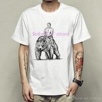 Футболка с медведем в стиле Путиной, крутая футболка с короткими рукавами, футболка с человеком-пауком, одежда унисекс, качественная футбол...