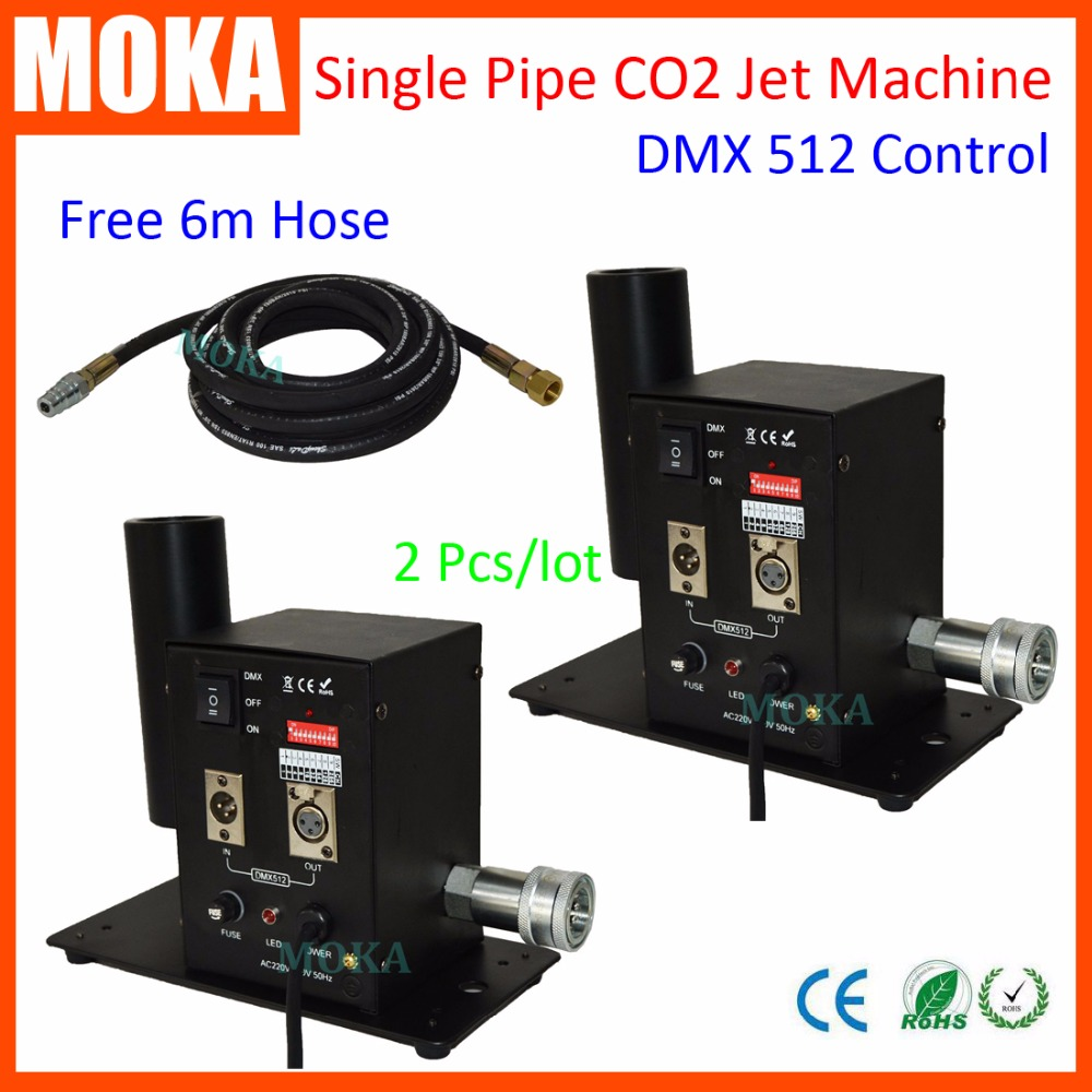 2 Pcs/lot Single Pipe CO2 Cannon Machine Stage Effect Dmx512 CO2 Jet AC110/240V With Co2 Hose Pipe