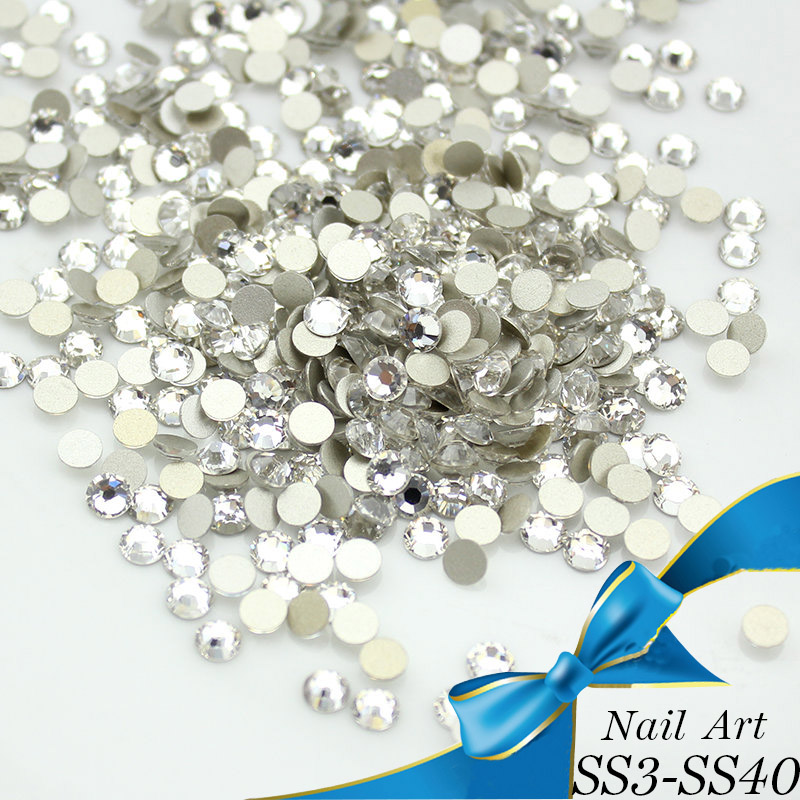 Luxe Crystal Clear ss3-ss40 Glas Nail Art Rhinestones voor Nail Art Charms 3D Decoratie Niet hotfix Flat Back Stones
