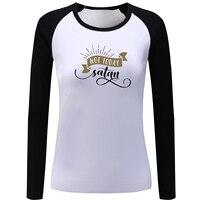 Pas Aujourd'hui Satan Conception À Manches Longues T-shirt Femmes Fille Lady Patchwork T-shirt Mode T-shirt Vacances Tee Casual Coton Lâche Tops