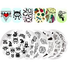 Monster Ghosts Round Stamping Plate Swan Ballet Flower Butterfly Lips Stamp Template Manicure Nail Art Image Plate