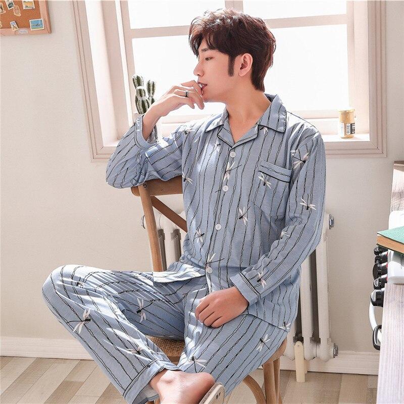2019 Frühling Baumwolle Langarm Männer Pyjama Sets Strickjacke Casual Nachtwäsche Anzug Mode Herren Pyjamas Herbst Winter Männlichen Homewear