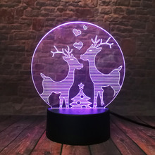 3D LED Hologram – Nočné svetlo –Christmas Deers