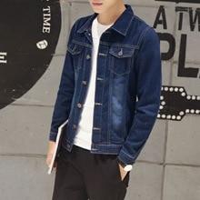 M spring new jacket mens denim Slim fashion solid color wild clothing