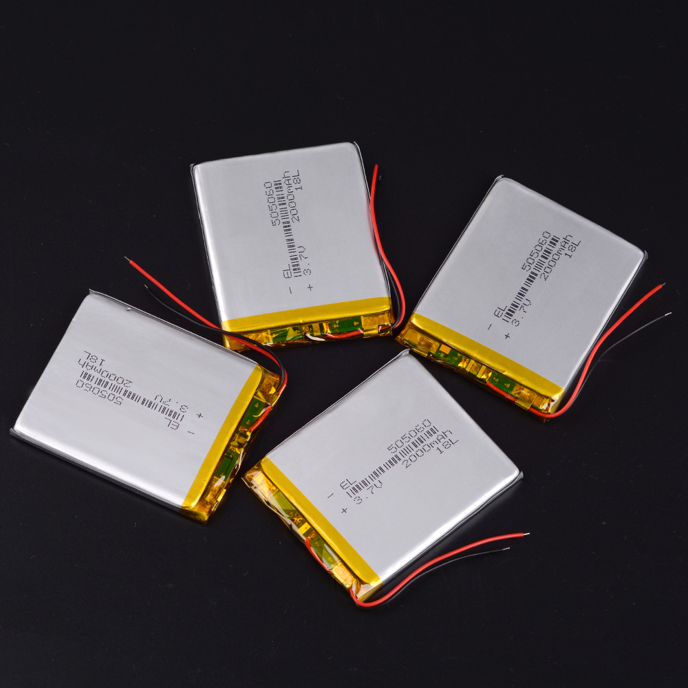 505060 <font><b>3.7v</b></font> <font><b>2000mAh</b></font> li-ion <font><b>Lipo</b></font> cells Lithium Li-Po Polymer Rechargeable <font><b>Battery</b></font> For interphone Bluetooth speaker POS GPS e-book image