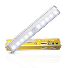 CHIZAO Motion Sensor Night Light Wireless PIR Lights Bar for Closet Hallway Wardrobe Cabinet 10 Led Bulb Emergency Lamp Battery