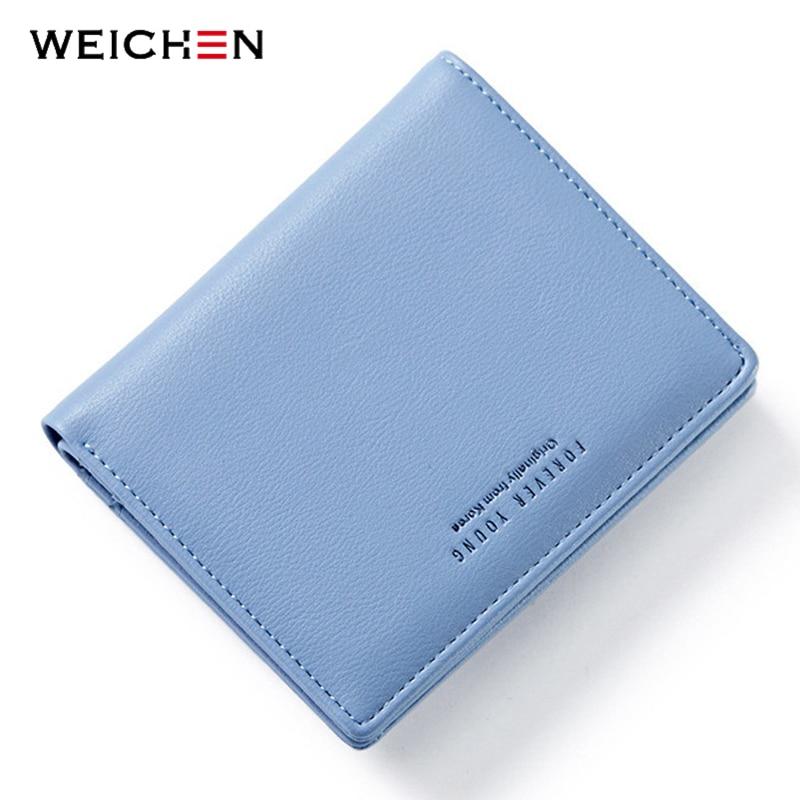 WEICHEN Female Wallet Card-Holder Slim Purse Zipper Thin-Style Small Blue Ladies Coin-Bag