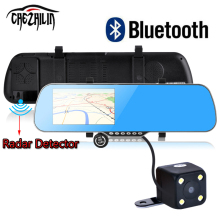 5″ Car DVR GPS Navigation Bluetooth Rearview mirror Dual Camera Radar Detectors Truck vehicle gps Europe/navitel map