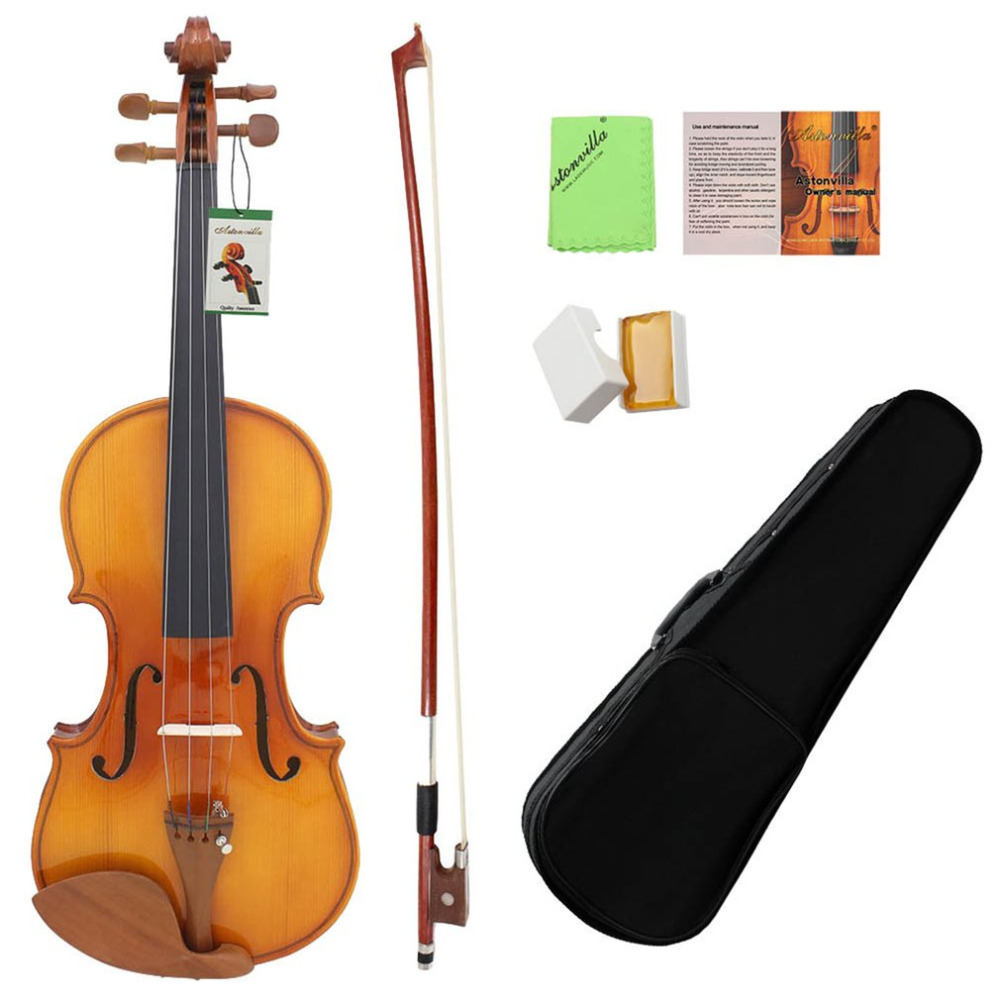 4/4 Violin Acoustic Solid Wood Violin High-end Antique Violin Tiger Skin Grain Musical Instrument With Storage Case one red 4 string 4 4 violin electric violin acoustic violin maple wood spruce wood big jack color