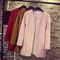 Casaco feminino 2016 early spring nuevo complejo y largo abrigo de gamuza de ocio blusas abrigo trench coat para las mujeres femeninas ZY1208