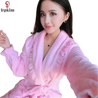 2017 New Women's Nightgown Winter Thicker Lengthened Flannel Coral Velvet Pajamas Comfortable And Healthy Ladies' Robe QW011