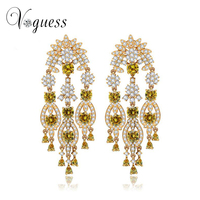 VOGUESS 2016 New Ethnic Earring White Gold Plated Chandelier Earrings Bridal Long Drop Wedding Earrings For