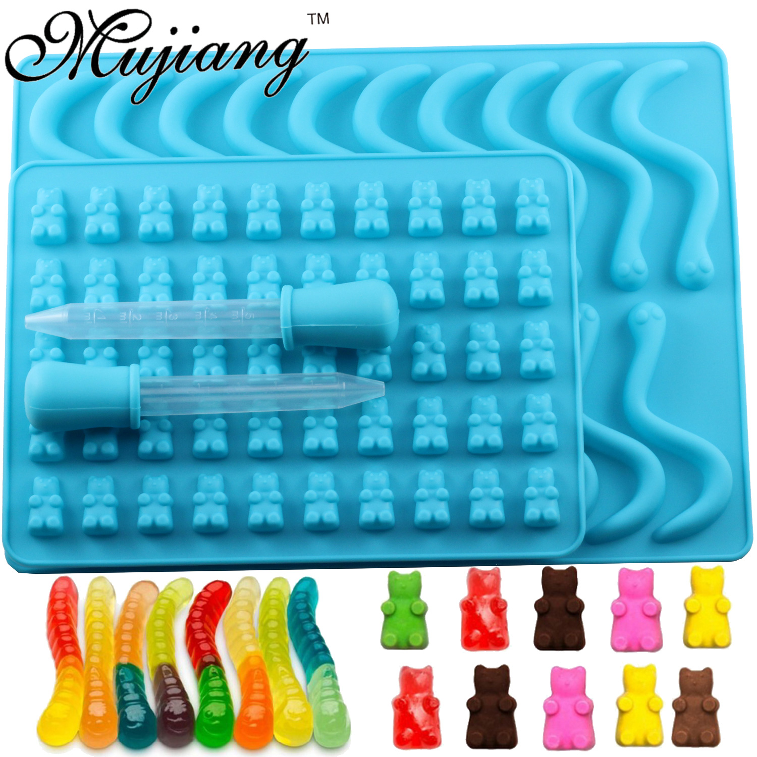 Mujiang 50 Cavity Bear Silicone Gummy Chocolate Sugar Candy Jelly Molds Snake Worms Ice Tube Tray Mold Cake Decorating Tools