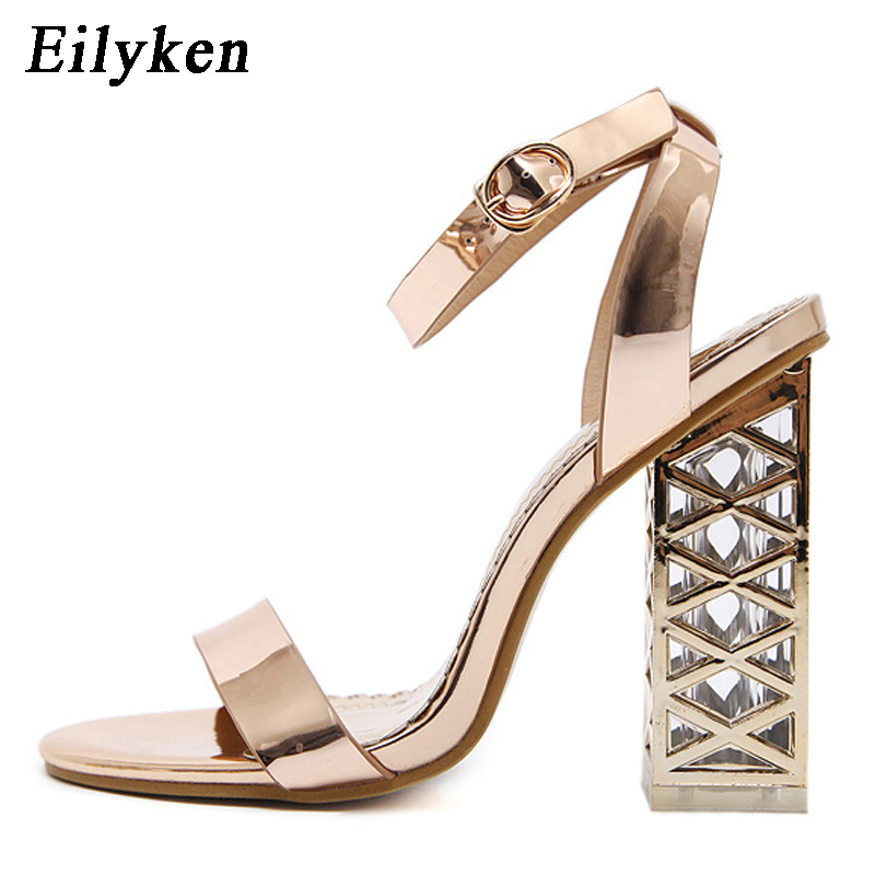 Eilyken champagne Women Sandals Clear Heel Crystal Pumps Peep Toe Crystal  Sandals Summer Rome Sandals For Women Shoes size 35 40-in High Heels from  Shoes on ... 22867eba7ca0
