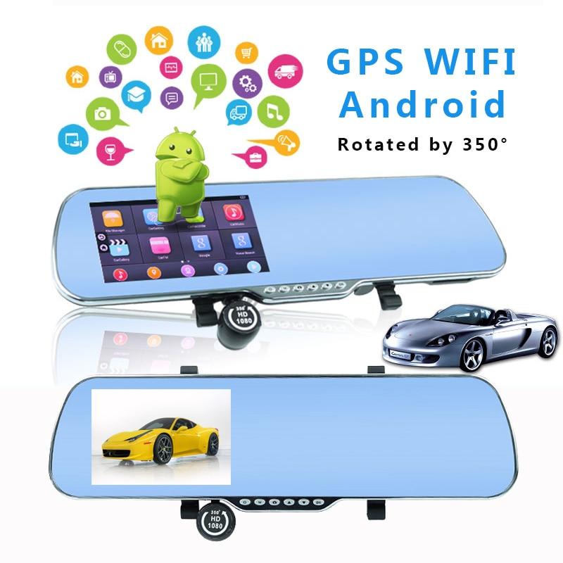 Dash caméra pour Voiture enregistreur vidéo dvr GPS WIFI Android rétroviseur Double Lentille HD Camara Coche Vidéo Registrator Voiture Automovil