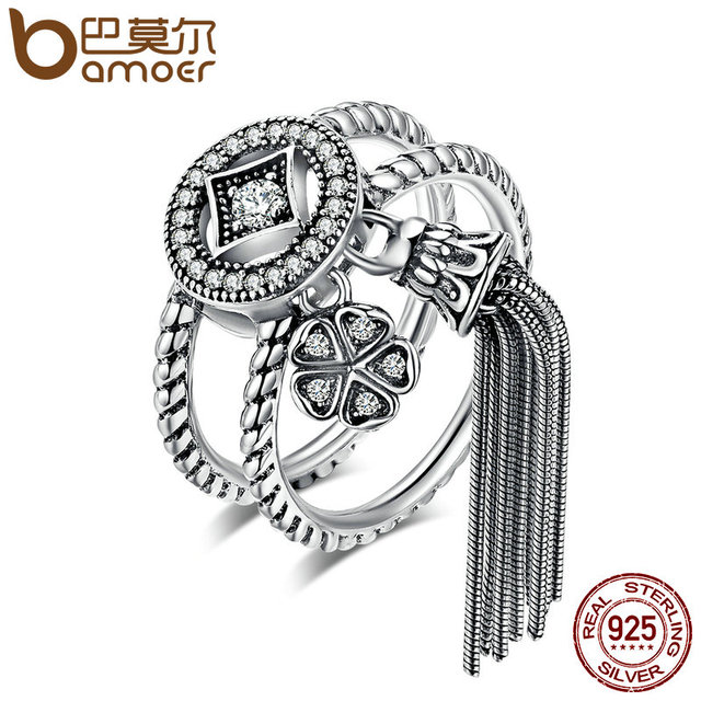 BAMOER 100% 925 Sterling Silver Double Layer Round & Geometric Long Tassel Finge