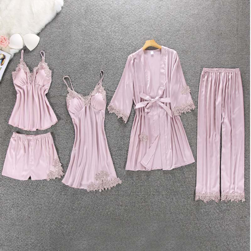 Women's Satin Silk Lace Patchwork Pajamas Suit Spring Nightgown Nightie Summer Pajama Sets Womens 2019 Home Clothes 5 Pieces