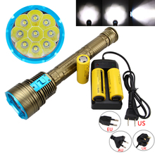 Free Shipping Waterproof 100m 20000LM 9X XM-L LED 3-mode Diving Flashlight Torch Dive 26650 Battery