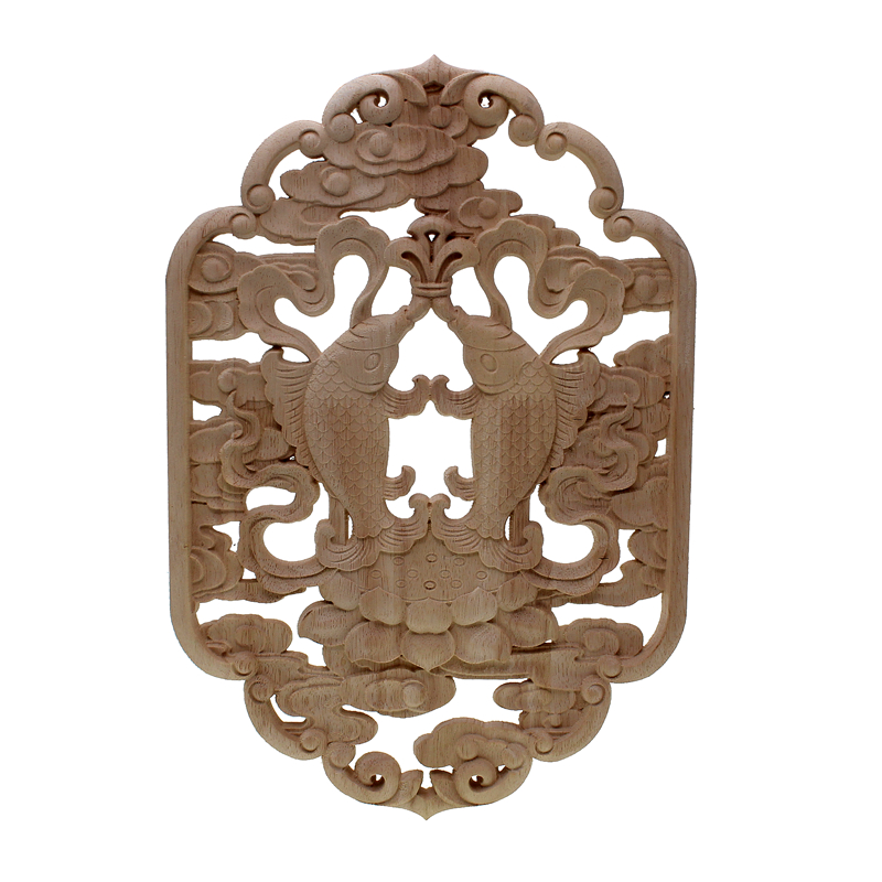 VZLX Natural Oak Wood Carved Applique Furniture Decorative Figurine Miniatures Model Vintage Home Decor Decoration Accessories