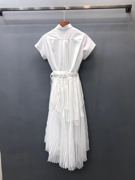 Net Couleur Ourlet Printemps Nouveau Pliage Court Femmes À 2019 Chemise Manches De Robe Taille 8qw0F0C