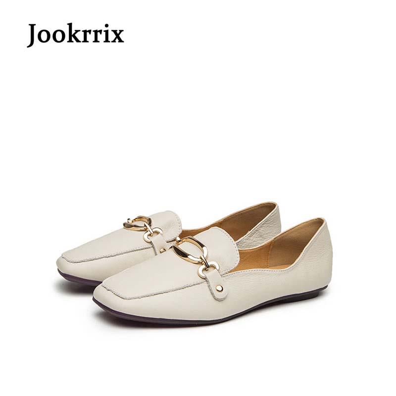 Jookrrix 2018 Spring Girl Fashion Brand Lady Shoe Women Flats Real Leather Suqare Toe Loafer Female Leisure Single Shoes Metal