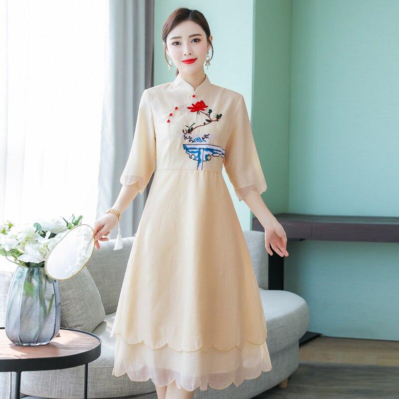 2019 verano las mujeres vestido de noche cheongsam mejorada elegante dama de honor boda qipao noble baile de graduación vestidos fiesta vestido de chino - 3