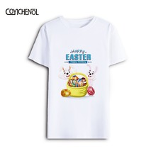 Funny design Easter Eggs Bunny printed top short Sleeve plus size Modal o-neck Men T-shirt COYICHENOL